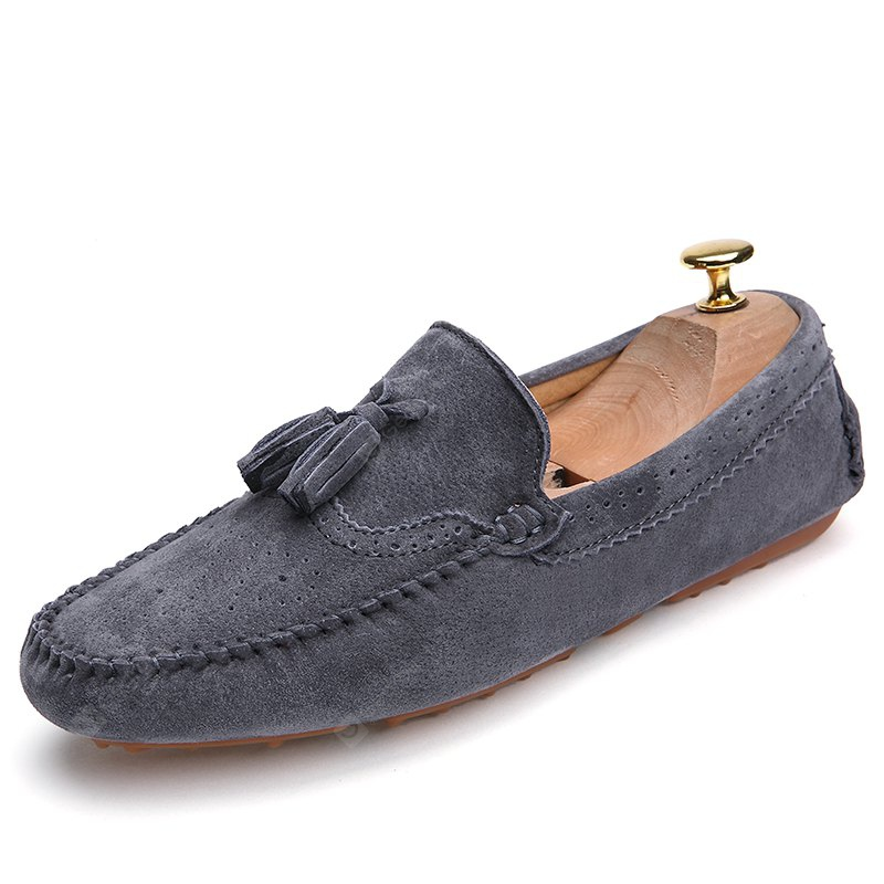GRAY 41 Male Business Breathable Soft Driving Flat Loafer
