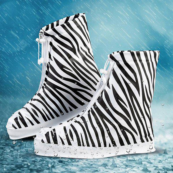 Waterproof Non-slip Thicken Shoe Covers Printing Stripe for Women