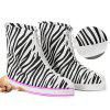 Waterproof Non-slip Thicken Shoe Covers Printing Stripe for Women - BLACK