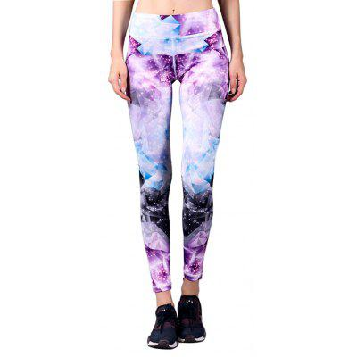 BARBOK Elastic Floral Printed Yoga Ninth Pants for Women
