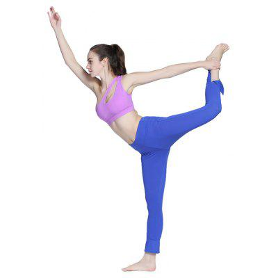 Buy BLUE L Outdoor Sports Elastic Slit Women Yoga Pants for $16.35 in GearBest store