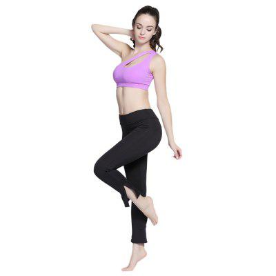 Buy BLACK L Outdoor Sports Elastic Slit Women Yoga Pants for $16.35 in GearBest store