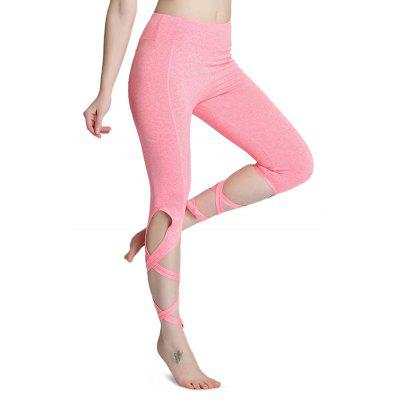 Buy PINK L Outdoor Sports Tie Breathable Yoga Pants for Women for $11.84 in GearBest store