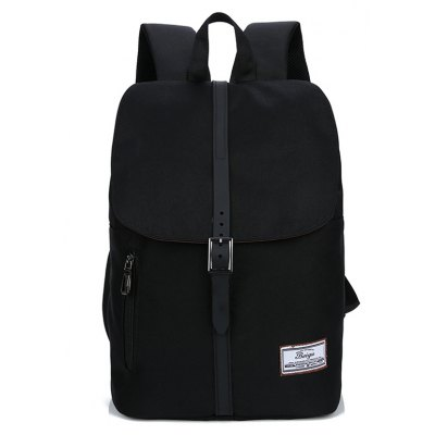 Buy BLACK Trendy Canvas Leather-trimmed Backpack for $23.20 in GearBest store