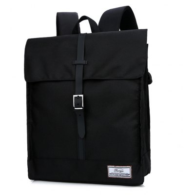 Buy BLACK Simple Canvas Leather-trimmed Backpack for $23.20 in GearBest store