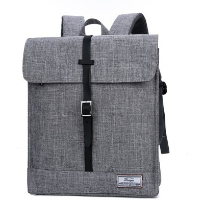 Buy GRAY Simple Canvas Leather-trimmed Backpack for $23.20 in GearBest store