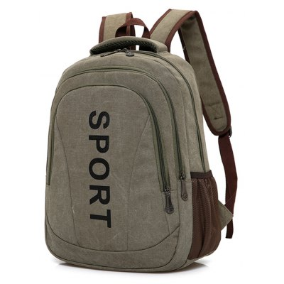 Buy ARMY GREEN Men Vintage Durable Canvas Sports Backpack for $22.01 in GearBest store