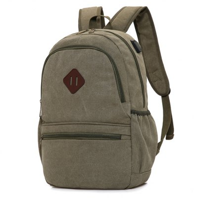 Buy ARMY GREEN Men Leisure Solid Color Canvas Backpack with USB Port for $21.68 in GearBest store