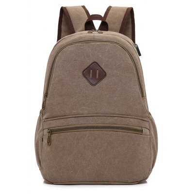 Men Leisure Solid Color Canvas Backpack with USB PortBackpacks<br>Men Leisure Solid Color Canvas Backpack with USB Port<br><br>Closure Type: Zip<br>Features: Water Bottle Pocket, Wearable<br>For: Daily Use, Traveling, Shopping, Outdoor, Hiking<br>Gender: Men<br>Material: Canvas<br>Package Size(L x W x H): 45.00 x 31.00 x 2.00 cm / 17.72 x 12.2 x 0.79 inches<br>Package weight: 0.7200 kg<br>Packing List: 1 x Backpack<br>Product weight: 0.7000 kg<br>Style: Fashion, Casual<br>Type: Backpacks