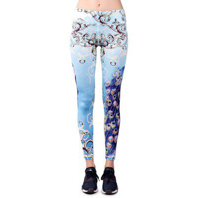 BARBOK LS101 Peacock Pattern Elastic Yoga Pants