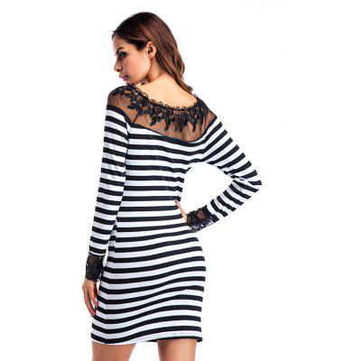 Striped Lace Jointed Fitted DressWomens Dresses<br>Striped Lace Jointed Fitted Dress<br><br>Dresses Length: Mini<br>Embellishment: Lace<br>Material: Cotton, Polyester<br>Neckline: Round Collar<br>Package Contents: 1 x Dress<br>Package size: 30.00 x 40.00 x 1.00 cm / 11.81 x 15.75 x 0.39 inches<br>Package weight: 0.2800 kg<br>Pattern Type: Striped<br>Product weight: 0.2600 kg<br>Season: Fall, Spring<br>Silhouette: Bodycon<br>Sleeve Length: Long Sleeves<br>Style: Fashion<br>With Belt: No