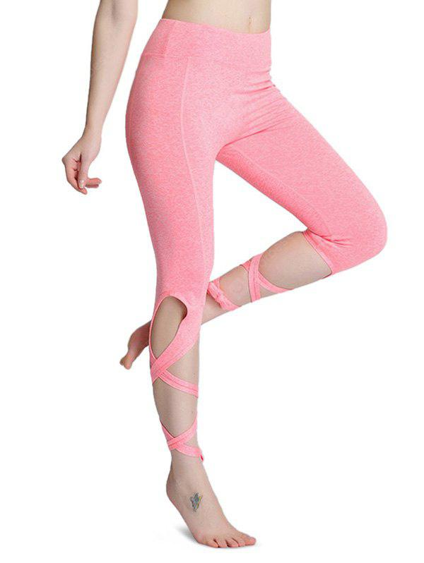 PINK M Outdoor Sports Tie Breathable Yoga Pants for Women