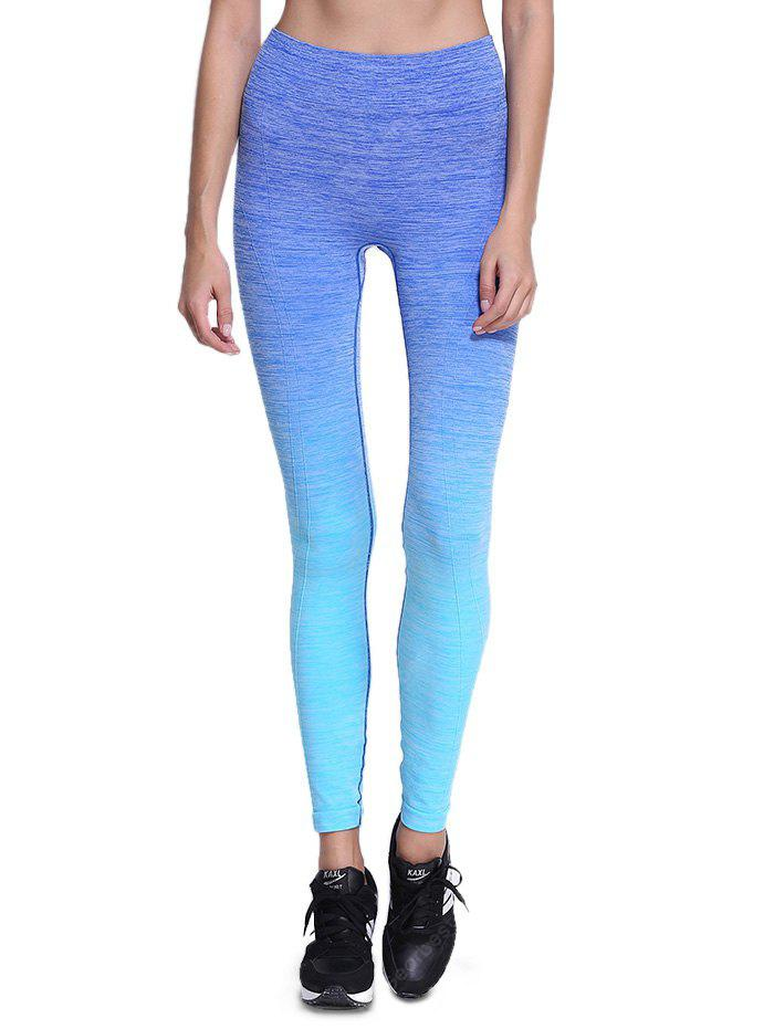 BLUE L Elastic Sports Outdoor Yoga Pants for Women