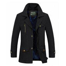 NIAN JEEP Male Outdoor Solid Color Cotton Jacket Coat