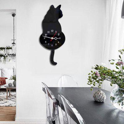 Decorative Cat Shape Wall Clock Creative Acrylic Artwork