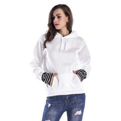 Buy Women Loose Dropped Sleeves Hoodie WHITE M for $29.35 in GearBest store