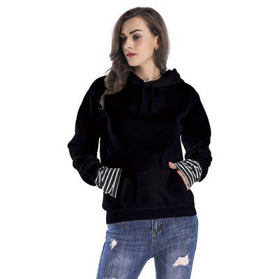 Buy Women Loose Dropped Sleeves Hoodie BLACK XL for $29.35 in GearBest store