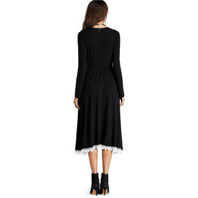 Stringy Selvedge Jointed Smock DressWomens Dresses<br>Stringy Selvedge Jointed Smock Dress<br><br>Dresses Length: Mid-Calf<br>Material: Cotton Blend<br>Neckline: Round Collar<br>Package Contents: 1 x Dress<br>Package size: 25.00 x 19.00 x 11.00 cm / 9.84 x 7.48 x 4.33 inches<br>Package weight: 0.4800 kg<br>Pattern Type: Solid Color<br>Product weight: 0.4500 kg<br>Season: Fall, Spring<br>Silhouette: Smock<br>Sleeve Length: Long Sleeves<br>Style: Casual<br>With Belt: No