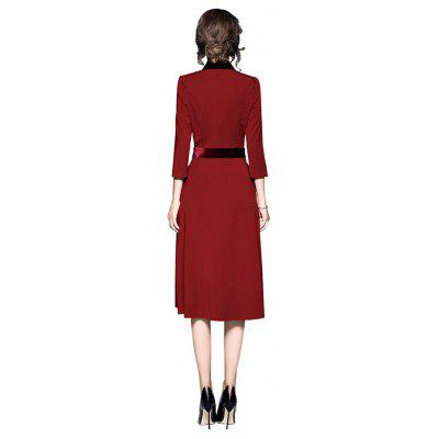 Elegant Split Hemline Jointed V-neck DressWomens Dresses<br>Elegant Split Hemline Jointed V-neck Dress<br><br>Dresses Length: Knee-Length<br>Material: Polyester<br>Neckline: V-Neck<br>Package Contents: 1 x Dress<br>Package size: 36.00 x 25.00 x 1.00 cm / 14.17 x 9.84 x 0.39 inches<br>Package weight: 0.9600 kg<br>Pattern Type: Solid Color<br>Product weight: 0.9400 kg<br>Season: Fall, Spring<br>Silhouette: A-Line<br>Sleeve Length: 3/4 Length Sleeves<br>Style: Elegant<br>With Belt: No