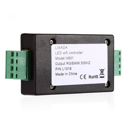 H801 RGB WiFi Controller LED DimmerLED Accessories<br>H801 RGB WiFi Controller LED Dimmer<br><br>Accessory type: LED Dimmer<br>Material: PC<br>Package Contents: 1 x LED Dimmer Controller, 1 x English Manual<br>Package size (L x W x H): 11.90 x 7.00 x 4.00 cm / 4.69 x 2.76 x 1.57 inches<br>Package weight: 0.0600 kg<br>Product size (L x W x H): 9.50 x 4.50 x 2.00 cm / 3.74 x 1.77 x 0.79 inches<br>Product weight: 0.0400 kg