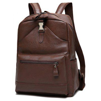 Buy Trendy Solid Color PU Backpack BROWN for $28.27 in GearBest store