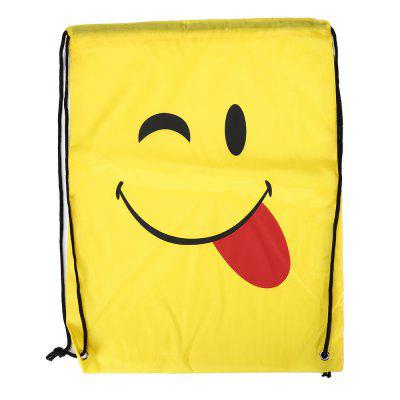 Buy YELLOW STYLEA Emoji Drawstring Backpack 210D Polyester Storage Bag 1pc for $3.50 in GearBest store