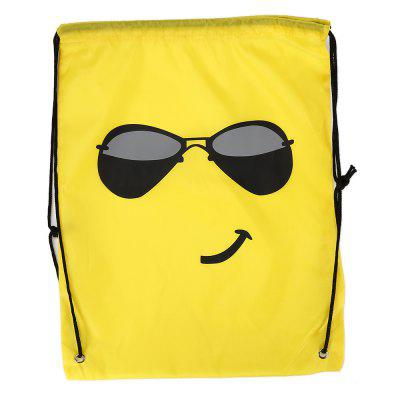 Buy YELLOW Emoji Drawstring Backpack 210D Polyester Storage Bag 1pc for $3.50 in GearBest store