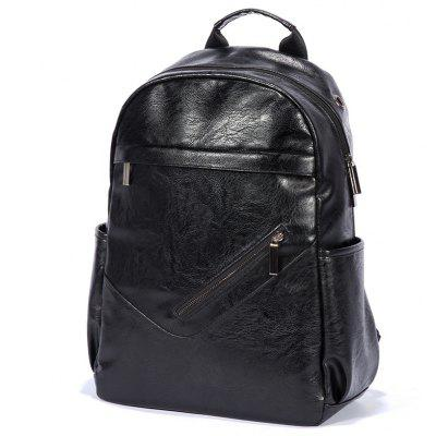 Buy Men Solid Color Textured PU Laptop Backpack BLACK for $30.07 in GearBest store