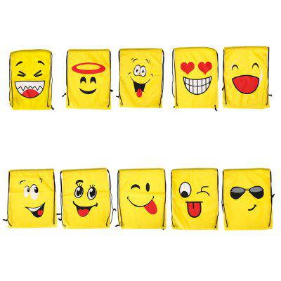 Emoji Drawstring Backpack 210D Polyester Storage Bag 10pcs