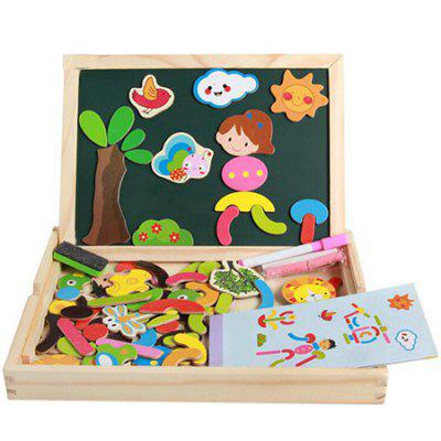 Kids Wooden Jigsaw Magnetic Board Pretend Play