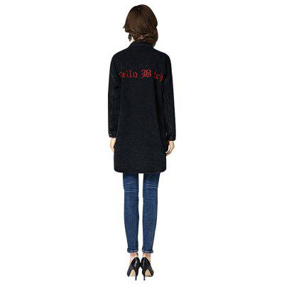 Embroidered Loose Long Denim CoatJackets &amp; Coats<br>Embroidered Loose Long Denim Coat<br><br>Collar: Turn-down Collar<br>Materials: Polyester<br>Package Content: 1 x Coat<br>Package Dimension: 36.00 x 25.00 x 1.00 cm / 14.17 x 9.84 x 0.39 inches<br>Package weight: 0.8700 kg<br>Product weight: 0.8500 kg<br>Type: Coat