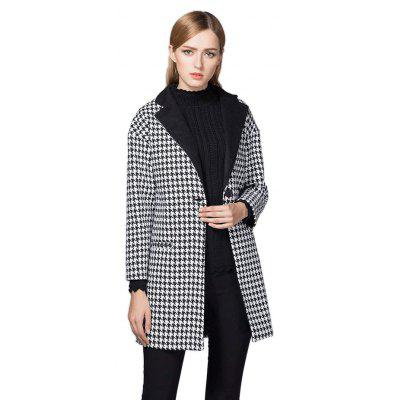 Notch Lapel Houndstooth Long Overcoat