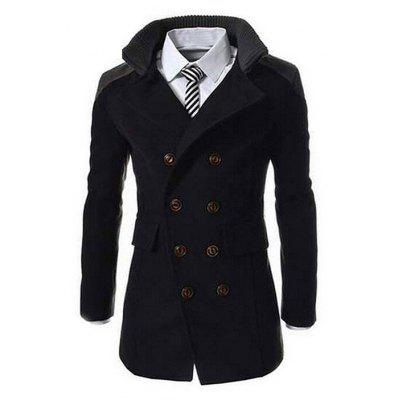 Masculino Classic Business Double Breasted Long Coat