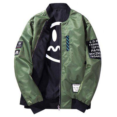 Male Stylish Reversible Patches Air Force Baseball Jacket