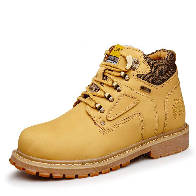 Male Trendy Soft Thicken Fur Padded Collar Boots, YELLOW, 44, Bags & Shoes, Men's Shoes, Men's Boots