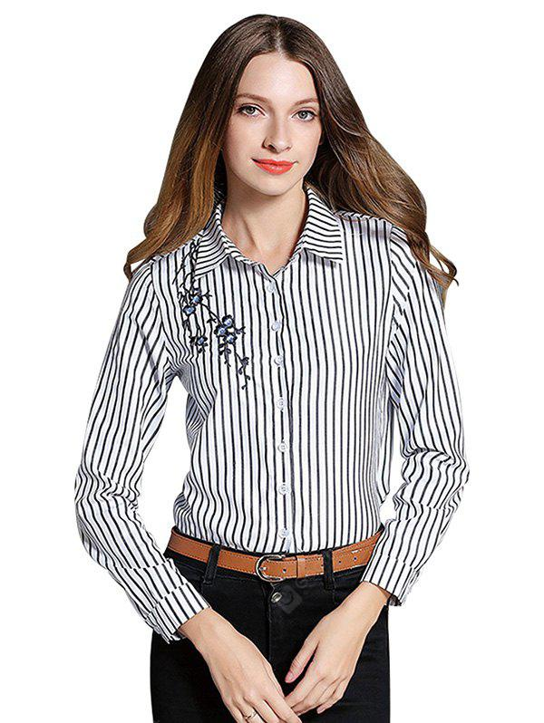 Striped Embroidered Long-sleeved Blouse