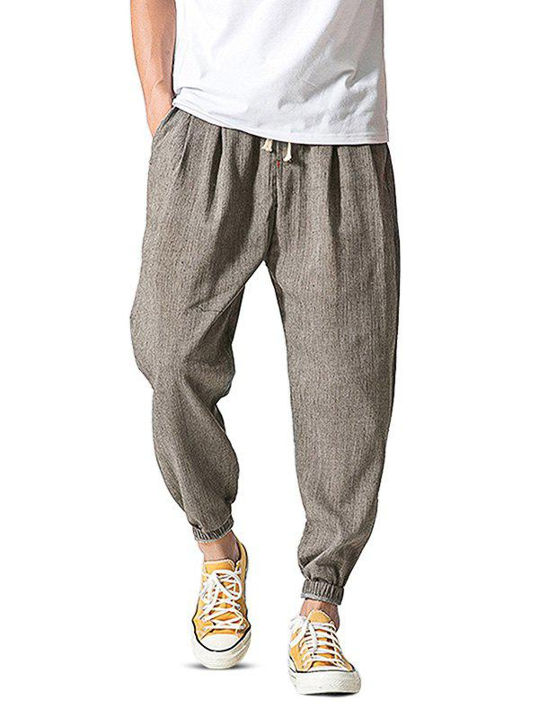 Pure Color Loose Tapered Legs Pants for Men