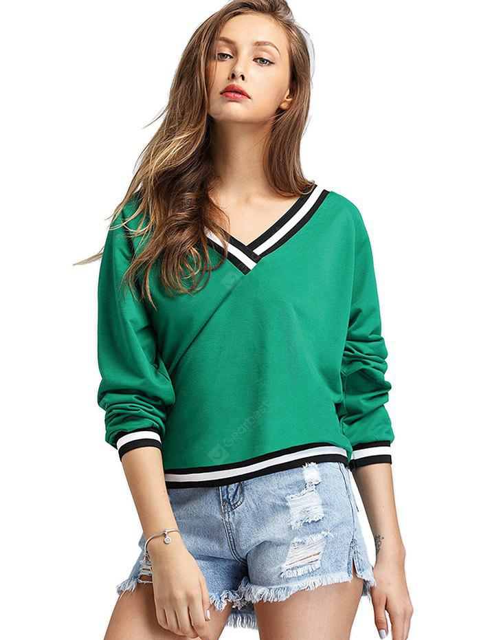 Trendy V-neck Short Sweatshirt