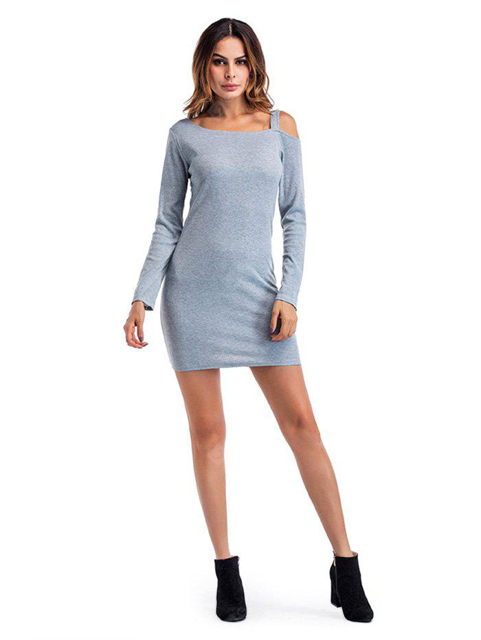 Long-sleeved Cold Shoulder Fitted Mini Dress