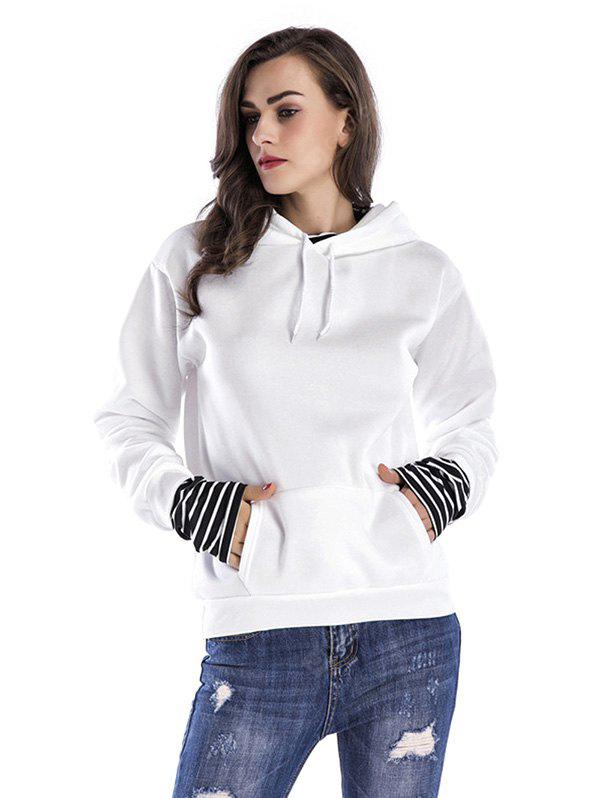 Women Loose Dropped Sleeves Hoodie WHITE XL