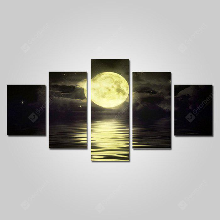 God Painting Canvas Prints Full Moon Hanging Wall Art 5PCS