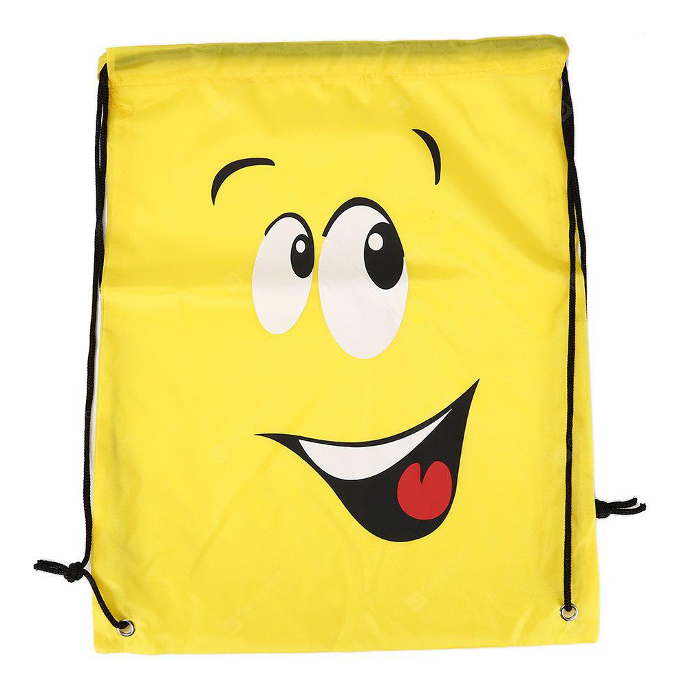 YELLOW Emoji Drawstring Backpack 210D Polyester Storage Bag 1pc