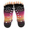 Women Breathable Pure Cotton Toe Socks for Yoga - BLACK RED