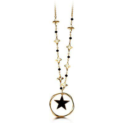 T400 7577 Star Pendant Sweater Chain Women Necklace