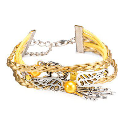 Bracelete de couro Retro Multilayer Leather Rope Wing