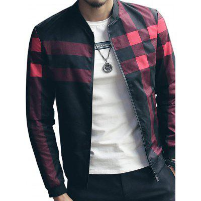 Masculino Leisure Chic Slim All-dressed Checked Jacket