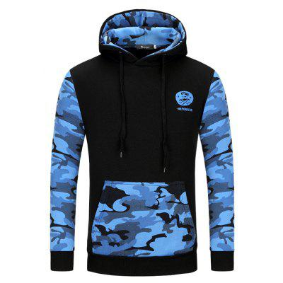 Masculino Cool Casual Camouflage Pattern Spliced Hoodie