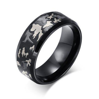 8MM Titanium Steel Laser Camouflage Men Ring
