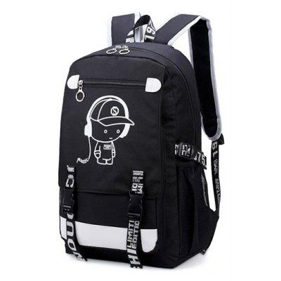 Cartoon Printed Luminous Laptop Backpack
