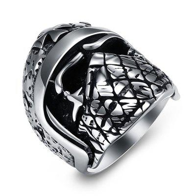 Buy SILVER 12 Trendy Pilot Helmet Titanium Steel Men Ring for $7.92 in GearBest store